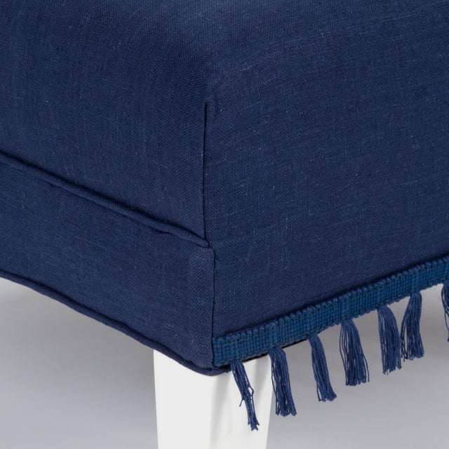 Casa Cosima Sintra Chair in Cadet Blue Linen For Sale In Los Angeles - Image 6 of 9