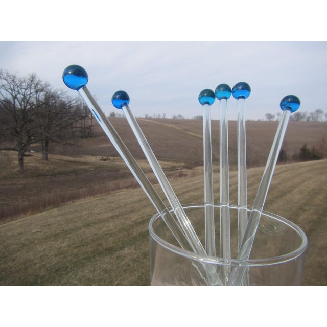 These 6 Mid Century Glass Royal Blue Ball Swizzle Sticks/Cocktail Mixers will be a great addition to your holiday...