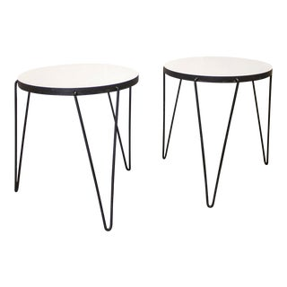 1950s Mid-Century Modern Harold Cohen and Davis Pratt Hairpin Tripod Side Tables - a Pair For Sale