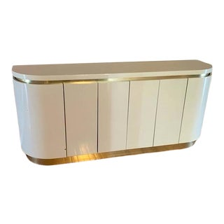 Mid Century Rounded Off White Lacquered and Brass Credenza For Sale