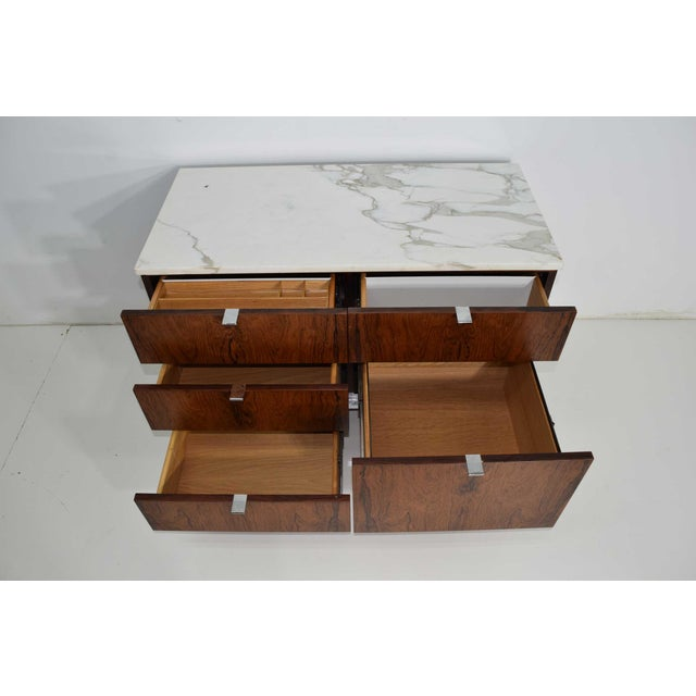 Knoll Florence Knoll Rosewood Credenza With Calacatta Marble Top For Sale - Image 4 of 9