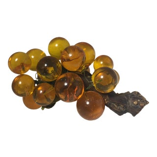 Mid-Century Amber Colored Lucite Cluster of Grapes For Sale