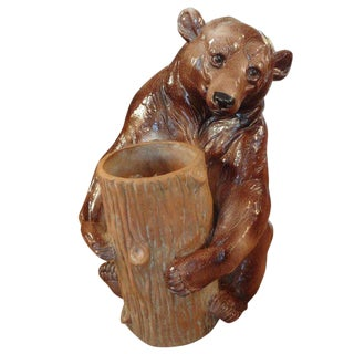 1920s Vintage Italian Glazed Pottery Brown Bear Umbrella Stand For Sale