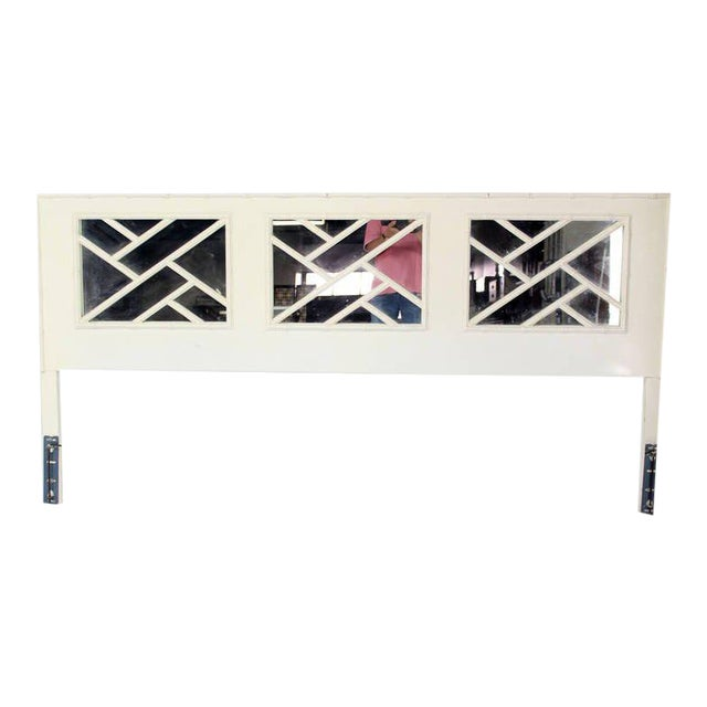 Mid-Century Modern Faux Bamboo White Lacquer King-Size Headboard For Sale