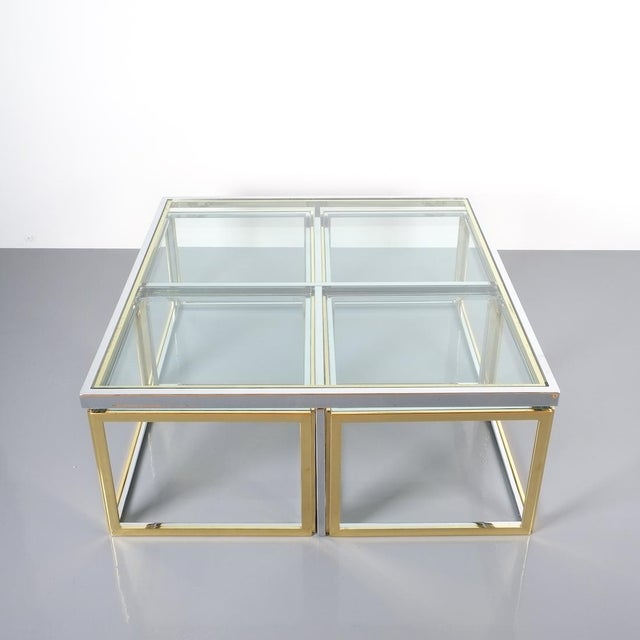 Square Segment Bicolor Brass Glass Coffee Table by Maison Charles, France 1975 For Sale - Image 13 of 13