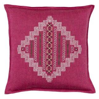 2010s Boho Chci Fuschia Linen Intricate Diamond Pillow