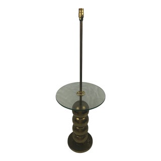 Mid-Century Stacked Brass Ball Floor Lamp Table For Sale