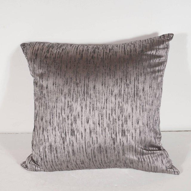 This gorgeous pair of modernist pillows are hand finished in a beautiful silvered lavender silk fabric replete with a...