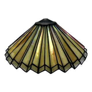 Custom Designed Fan Shaped Iridescent Art Nouveau Glass Lampshade