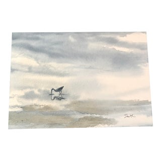 "Nancy Smith Original Contemporary Nautical ""Misty Gulf Morning"" Watercolor Painting For Sale"