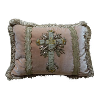 Silk Velvet Pillow With 19th C. Cross Applique For Sale