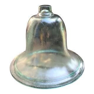 Vintage Hand Blown Bell Jar Garden Cloch Green Glass with Knob For Sale