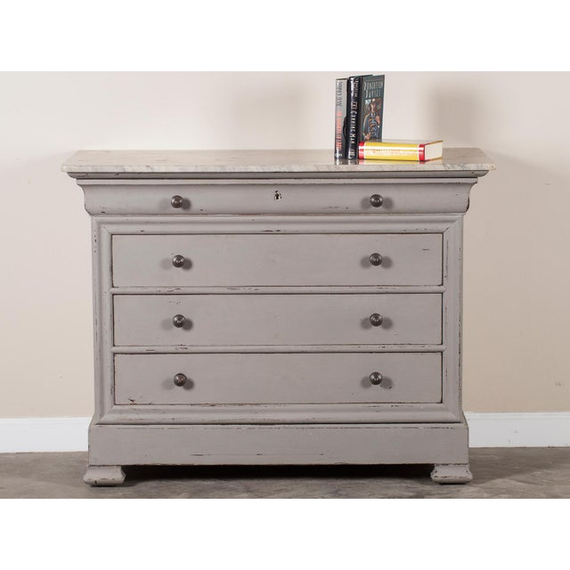 French Antique French Painted Louis Philippe Chest of Drawers with a Marble Top circa 1850 For Sale - Image 3 of 11
