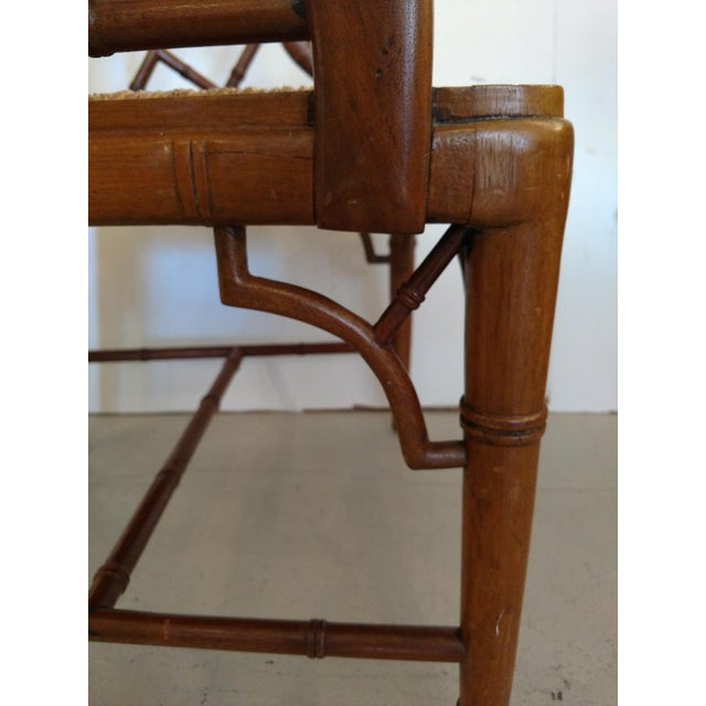 Brown Vintage Chippendale Faux Bamboo Armchair For Sale - Image 8 of 9