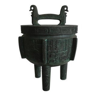 James Mont Style Faux Bronze Verdigris Ice Bucket For Sale