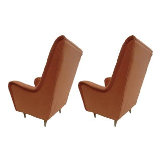 Pair of Italian Mid-Century Modern Wing Back Lounge Chairs by Paolo Buffa