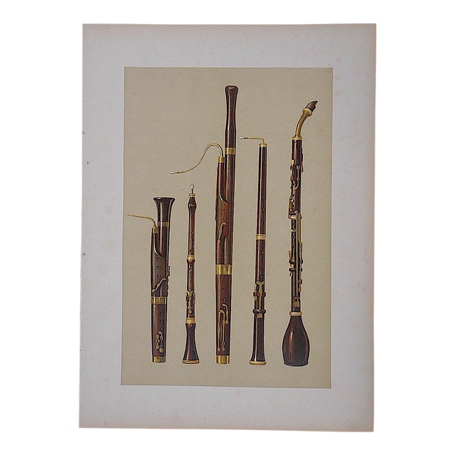 Antique Lithograph, Woodwind Musical Instruments For Sale