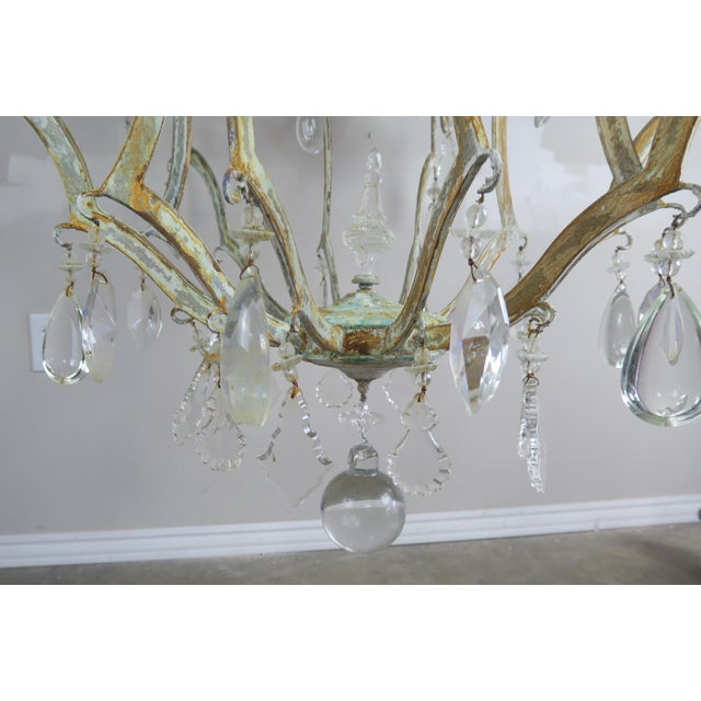 Green Monumental Painted Wrought Iron Crystal Chandelier For Sale - Image 8 of 11