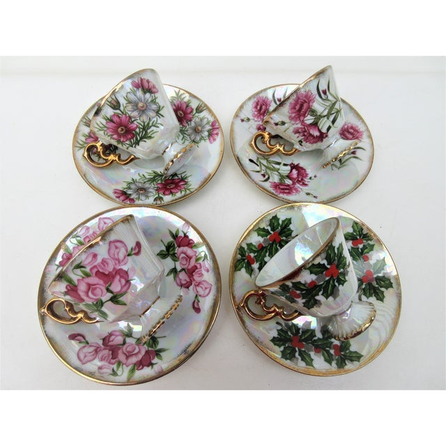 1960s Japanese Lusterware Flower of the Month Demitasse Cups and Saucers - Set of 4 For Sale - Image 9 of 12