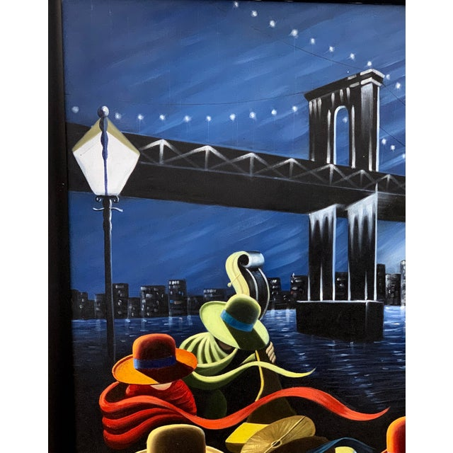 A wonderful painting of a Jazz Band playing with the Brooklyn Bridge in the background. This New York City Manhattan scene...