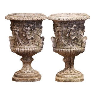 Pair of Early 20th Century French Outdoor Carved Cast Stone Vases For Sale