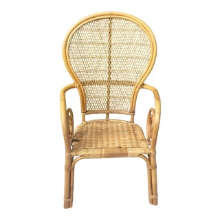 Vintage Bentwood Rattan Wicker and Bamboo Chair For Sale