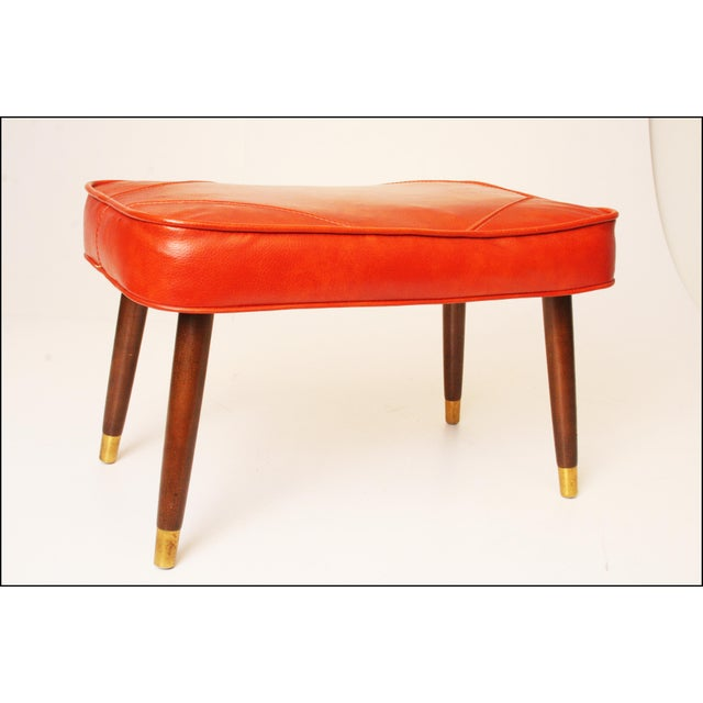 Mid-Century Modern Orange Vinyl Foot Stool - Image 2 of 11
