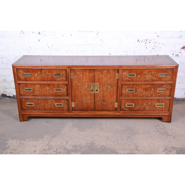 Asian Drexel Heritage Hollywood Regency Chinoiserie Long Dresser or Credenza For Sale - Image 3 of 13