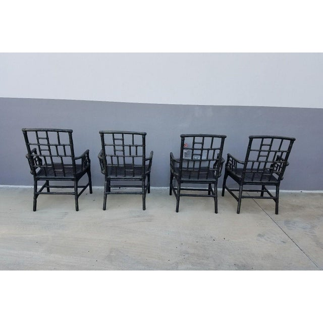 Chinese Chippendale Baker Milling Road Rattan Arm Chairs - Set of 4 For Sale In Miami - Image 6 of 12