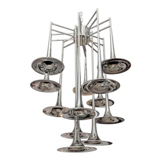 Large Mid-Century Modern Chrome Trumpet Chandelier by Reggiani, Italy, 1970s For Sale