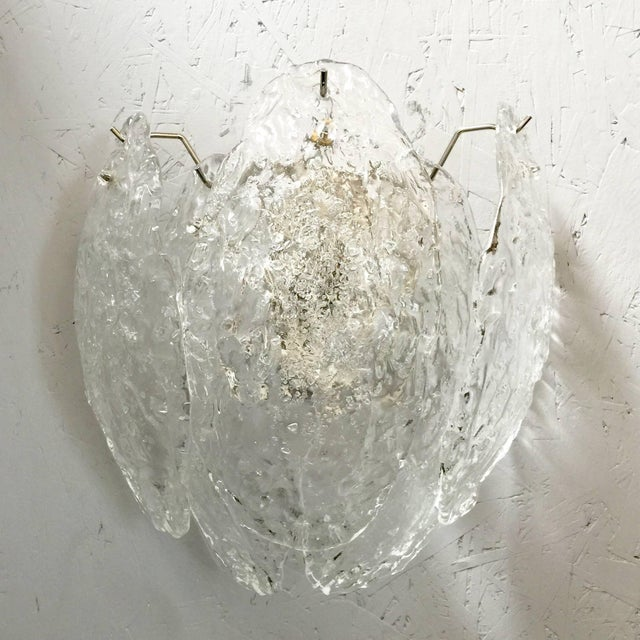 Italian Pair of Italian Murano Glass Leaves Sconces For Sale - Image 3 of 7