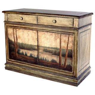 Charles Pollock for William Switzer Hand Painted Scenic Landscape Buffet Sideboard For Sale