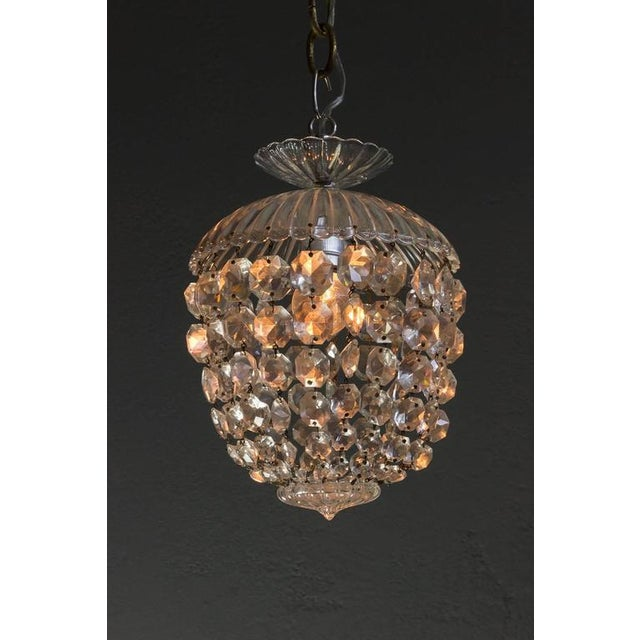 1940s French Crystal and Glass Pendant Ceiling Fixture - Image 10 of 11