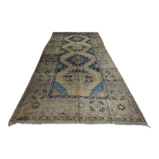 Antique Turkish Blue Iris Rug - 5′3″ × 12′11″
