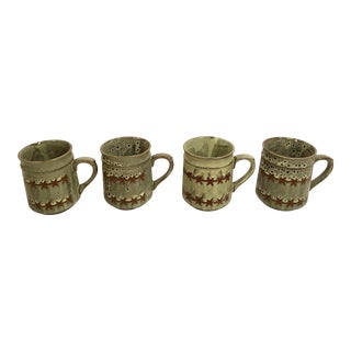 Vintage Ceramic Green and Brown Coffee Mugs - Set of 4 For Sale
