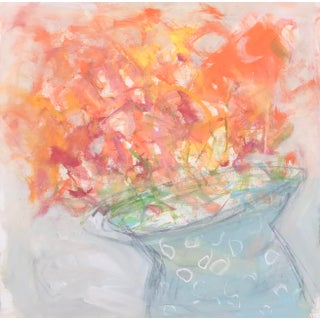 "Abstract Floral Painting, ""Orange Blooms"" by Sarah Trundle For Sale"