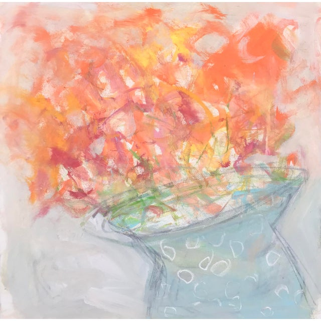 """Abstract Floral Painting, """"Orange Blooms"""" by Sarah Trundle For Sale"""