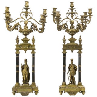 Pair of French Louis XVI Style Bronze Candelabras, 19th Century For Sale