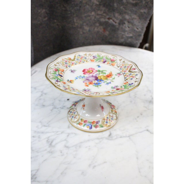Ceramic Dresden Floral Punched Tazza DIsh For Sale - Image 7 of 7