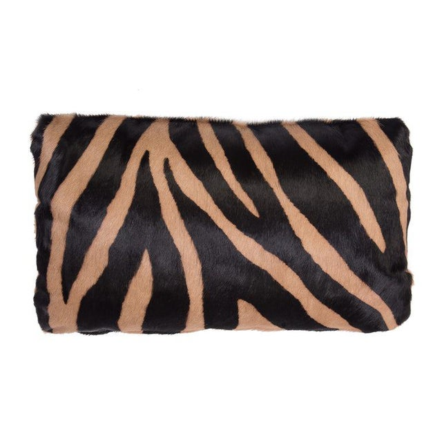 2010s Zebra Stencil Printed Cowhide Lumbar Pillow For Sale - Image 5 of 5