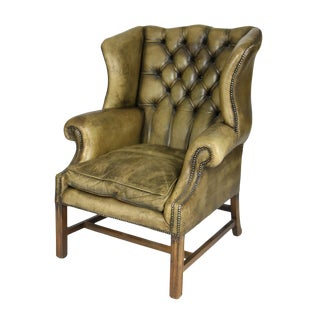 Handsome Mahogany and Original Tufted Green Leather Wing Chair, English Circa 1880