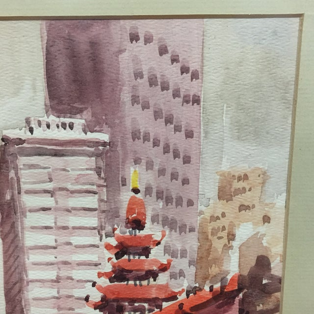 1970s Japanese Signed Watercolor Painting For Sale - Image 5 of 11