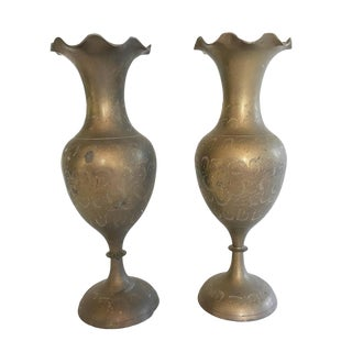 Etched Brass Fluted Vases - A Pair For Sale