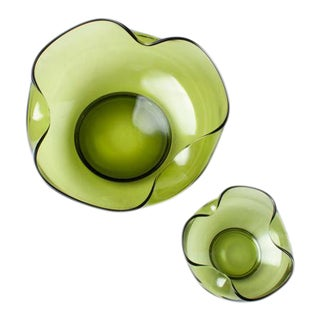 Mod Avocado Green Glass Bowls - A Pair