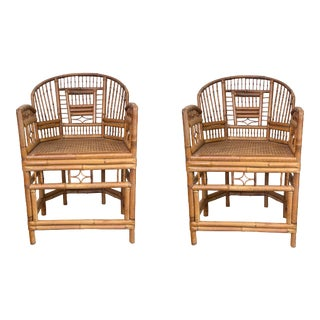 1940s Chinese Export Style Bamboo Armchairs, a Pair For Sale