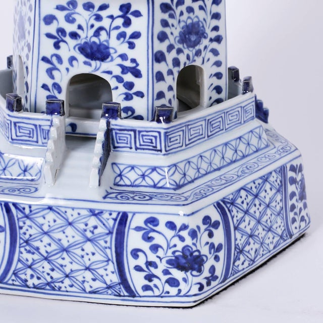 Ceramic Chinese Blue and White Porcelain Pagodas - A Pair For Sale - Image 7 of 9