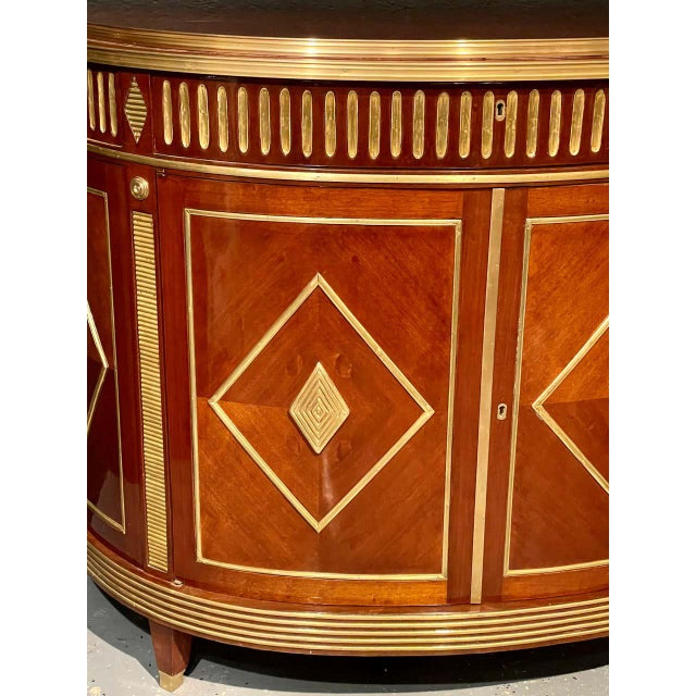 1960s Pair of Mahogany Demilune Servers, Commodes Nightstands, Russian Neoclassical For Sale - Image 5 of 13