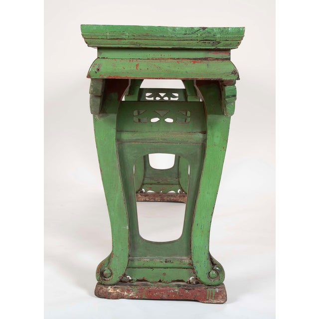 Green Painted Chinese Console Table, Large Scale For Sale - Image 11 of 13