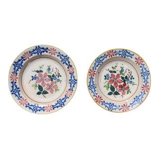 Antique Portuguese Floral Earthenware Wall Plates - a Pair For Sale