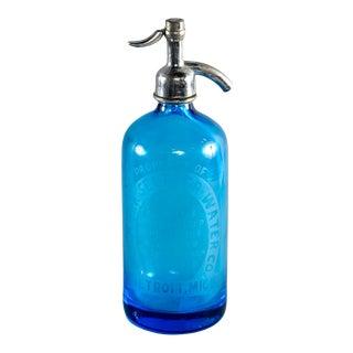 Blue Ny Seltzer Detroit MI Vintage Seltzer Bottle For Sale